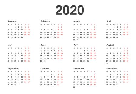 Calendar for 2020 year in clean minimal style. Week Starts on Monday.