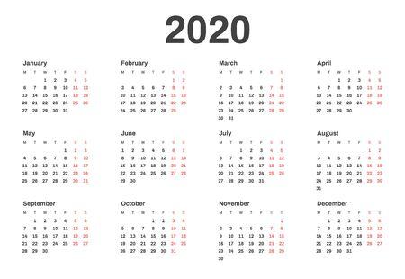 Calendrier pour l'année 2020 dans un style minimal et épuré. La semaine commence le lundi.
