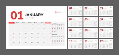 Wall calendar for 2020 year in clean minimal style. Week Starts on Sunday. Set of 12 Months. 일러스트