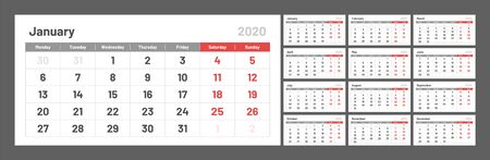 Wall quarterly calendar for 2020 year in clean minimal style. Week Starts on Monday. Set of 12 Months. Ready for print.