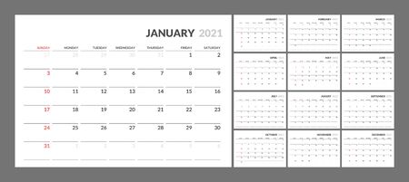 Wall calendar for 2021 year in clean minimal style. Corporate design planner template. Week Starts on Sunday. Set of 12 Months. Ready for print. Illustration