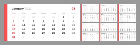Wall calendar for 2021 year in clean minimal style. Week Starts on Sunday. Set of 12 Months. Ready for print. Çizim