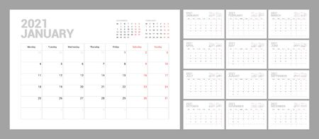 Wall calendar template for 2021 year. Planner diary in a minimalist style. Week Starts on Monday. Set of 12 Months. Ready for print. Vecteurs