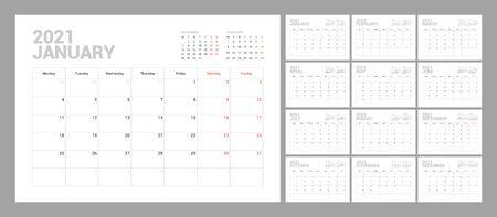Modèle de calendrier mural pour l'année 2021. Agenda agenda dans un style minimaliste. La semaine commence le lundi. Ensemble de 12 mois. Prêt pour l'impression. Vecteurs