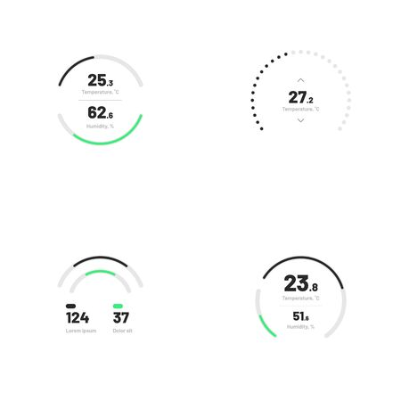 Set with collection of indicator template. Dashboard UI and UX Kit. Control center design with progress bar or temperature control. Eps 10. Illustration