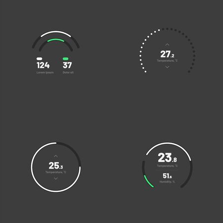 Set with collection of indicator template. Dashboard UI and UX Kit. Control center design with progress bar or temperature control. Black background. Eps 10.