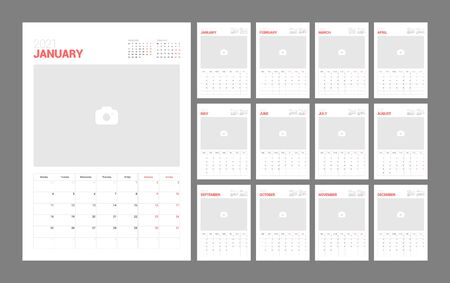 Wall calendar template for 2021 year. Planner diary in a minimalist style with Place for Photo. Week Starts on Monday. Monthly calendar ready for print.