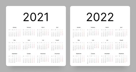 Calendar for 2021 and 2022 year in clean minimal style. Week Starts on Monday. Ilustração