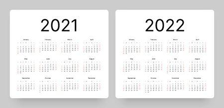 Calendrier pour l'année 2021 et 2022 dans un style minimal et épuré. La semaine commence le dimanche.