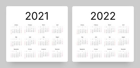 Kalender für das Jahr 2021 und 2022 im sauberen minimalistischen Stil. Woche beginnt am Sonntag.