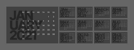 Wall calendar for 2021 year. Planner diary in a minimalist style. Week Starts on Sunday. Monthly calendar ready for print. In dark colors.