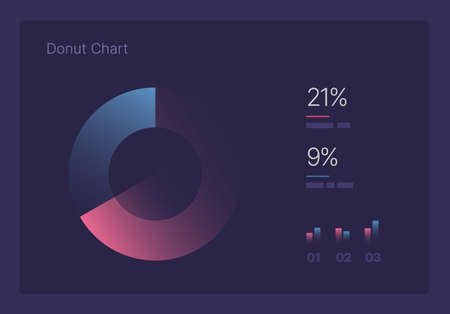 Infographic charts for business layout, presentation template and finance report. Data visualization with Donut Chart. Illustration