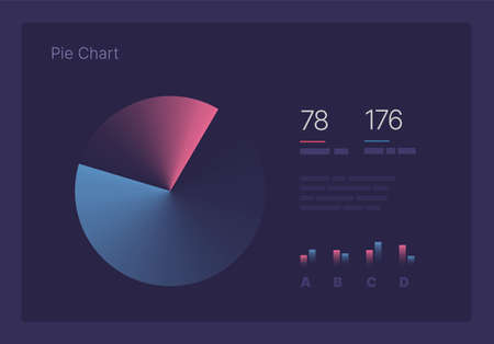 Infographic charts for business layout, presentation template and finance report. Data visualization with Pie Chart. Illustration