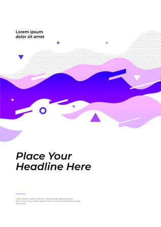 Layout design with dynamic waveforms. Vector illustration for poster, flyer or website design.  イラスト・ベクター素材
