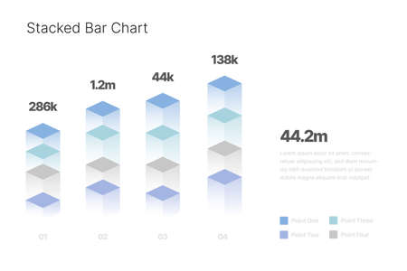 Infographic with isometric elements for business layout, presentation template and finance report. Data visualization with Stacked Bar Chart.