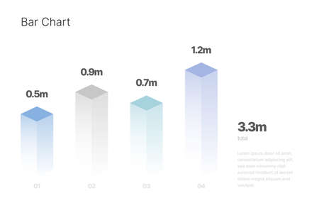 Infographic with isometric element for business layout, presentation template and finance report. Data visualization with Bar Chart.