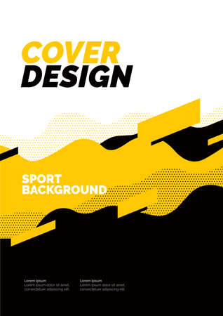 Layout design with yellow dynamic waves.