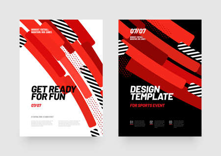 Design of posters with red shapes for sports event, competition or championship. Sports background.