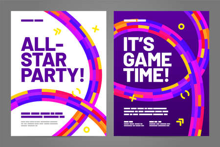 Template design with dynamic shapes for event, invitation or championship. Sport background. Vetores