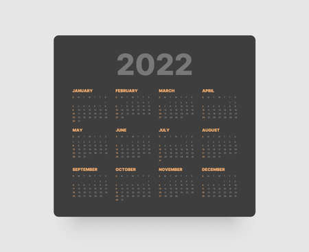 Monthly calendar for 2022 year. Week Starts on Sunday.