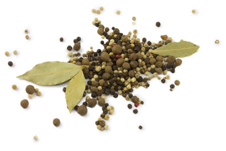 Spices, dried bay leaf and pepper photo