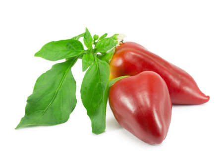 sweet red pepper on a white background Stock Photo