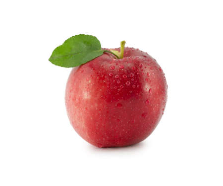 apple with a green leaf on a white background