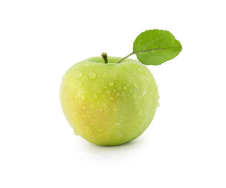 apple with a green leaf on a white background photo