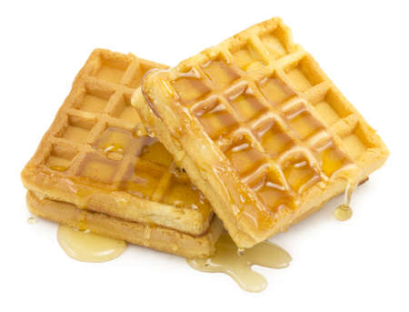 waffle, honey on white background photo