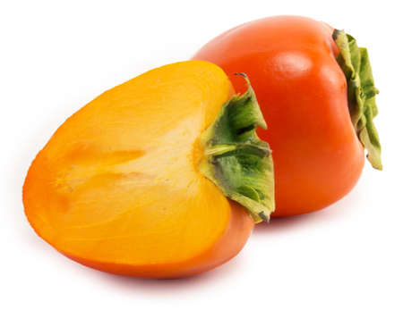 bright juicy persimmon on a white background