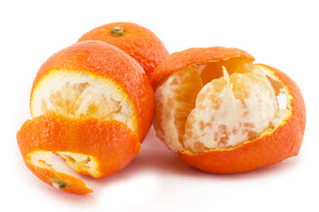 bright juicy tangerines on a white background