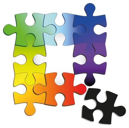 puzzle piece: rompecabezas de colores del arco iris Vectores