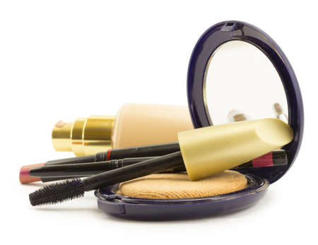 concealer: cosmetics for face, face powder, blush, concealer Stock Photo