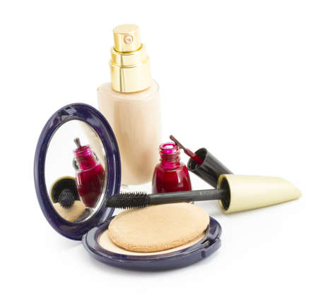 cosmetics for face, face powder, blush, concealer Stock Photo
