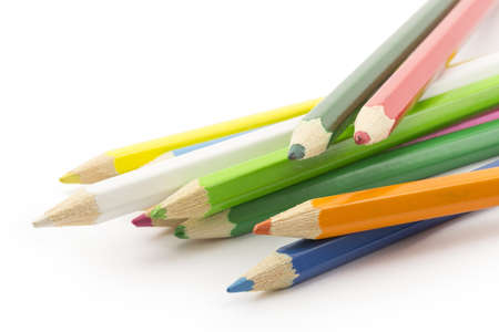 colored pencils isolated on white background Stock Photo