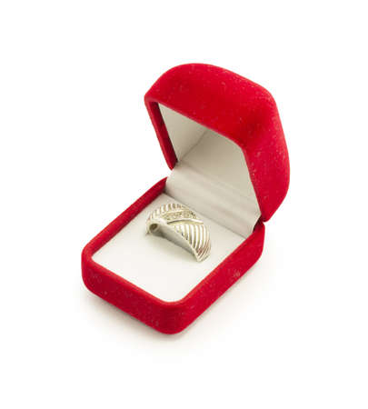 red gift box for jewelry, silver ring