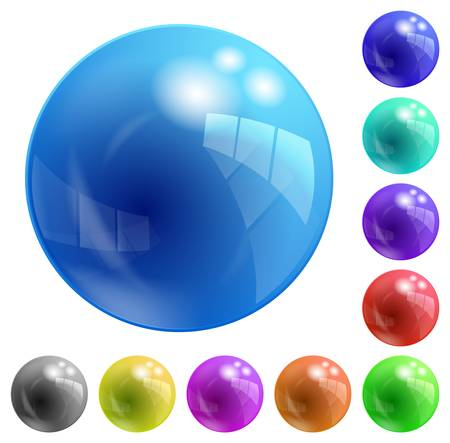 blue sphere: colored, glass balls of different colors Illustration