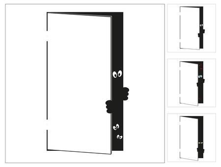 door with the monster Illustration