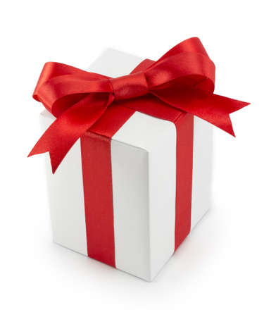White Gift Box with Red Ribbon Bow isolated on white background photo