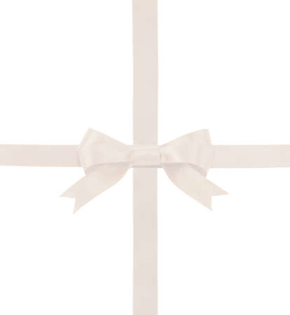 satin ribbon with a bow isolated on white background photo