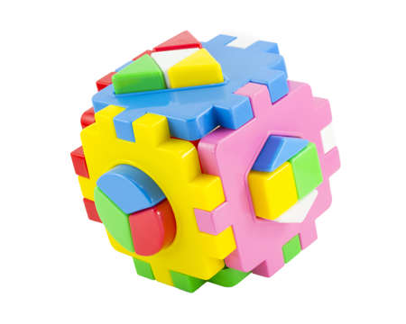 baby toy blocks isolated on white background photo