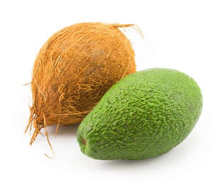 coconut, avocado isolated on white background