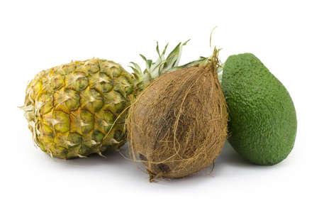 coconut, avocado, pineapple isolated on white background Stock Photo - 17144839