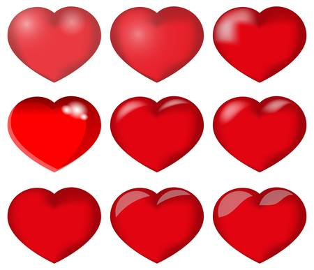 vector hearts set for wedding and valentine Stock Vector - 17144012