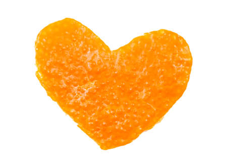 tangerine peel: tangerine peel in the shape of a heart on a white background