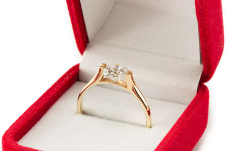 gold wedding ring in a red gift box Stock Photo - 18241599