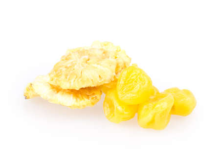dried fruit, lemon, pineapple isolated on white background photo