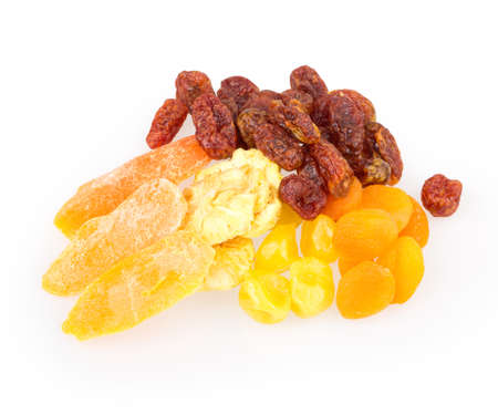dried fruit pineapple, lemon, walnut, cranberry isolated on white background photo