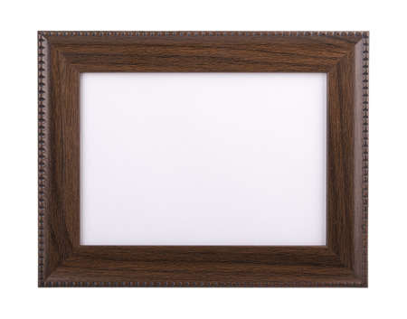wooden picture frame isolated on white