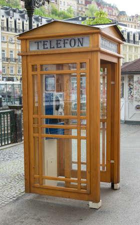 call-box wood in city photo